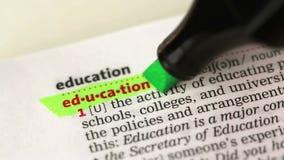 Definition av utbildning stock video