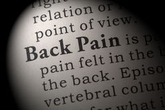 Definition of Back Pain. Fake Dictionary, Dictionary definition of the word Back Pain. including key descriptive words Stock Image