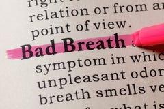 Definition of Bad Breath. Fake Dictionary, Dictionary definition of the word Bad Breath. including key descriptive words Stock Image