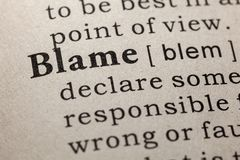 Definition of blame. Fake Dictionary, Dictionary definition of the word blame. including key descriptive words royalty free stock photo