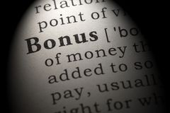 Definition of bonus. Fake Dictionary, Dictionary definition of the word bonus. including key descriptive words royalty free stock photography