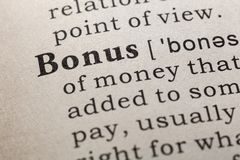 Definition of bonus. Fake Dictionary, Dictionary definition of the word bonus. including key descriptive words stock image