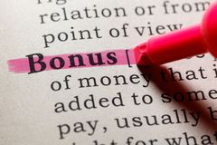 Definition of bonus. Fake Dictionary, Dictionary definition of the word bonus. including key descriptive words stock photos