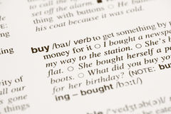 Definition buy in dictionary Royalty Free Stock Photos