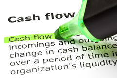 Definition Of Cash Flow. Highlighted with green text marker stock images