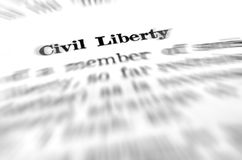 Definition of Civil Liberty and Law. Definition of civil liberty law in dictionary Royalty Free Stock Photo