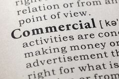 Definition of commercial. Fake Dictionary, Dictionary definition of the word commercial. including key descriptive words stock image