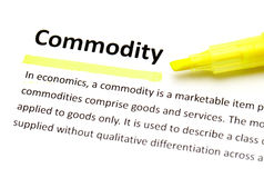 Definition of commodity Stock Image