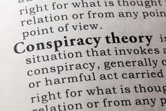 Definition of conspiracy theory. Fake Dictionary, Dictionary definition of the word conspiracy theory. including key descriptive words Royalty Free Stock Photo