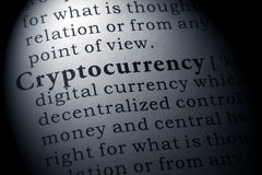 Definition of cryptocurrency. Fake Dictionary, Dictionary definition of the word cryptocurrency. including key descriptive words royalty free stock image