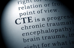 Definition of CTE. Fake Dictionary, Dictionary definition of the word CTE, Chronic Traumatic Encephalopathy royalty free stock photos