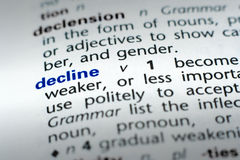 Definition of Decline. The word Decline in a dictionary, word in blue with rest of page text in black royalty free stock photography