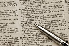 Definition der Investition Lizenzfreies Stockbild