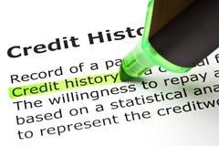 Definition der Kreditgeschichte lizenzfreie stockfotografie