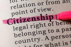 Definition der Staatsbürgerschaft Stockfoto