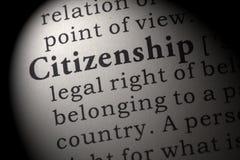 Definition der Staatsbürgerschaft Stockbild