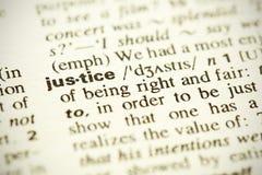 Definition der Wort Gerechtigkeit Stockfoto