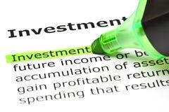 Definition der Wort-Investition lizenzfreies stockbild