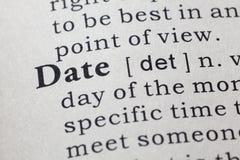 Definition des Datums Stockfoto