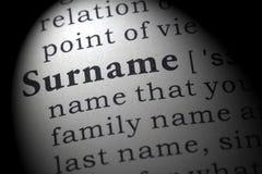Definition des Familiennamens Stockbild