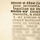 Definition des Geldes. Stockfotografie