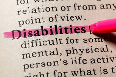 Definition of Disabilities Royalty Free Stock Images