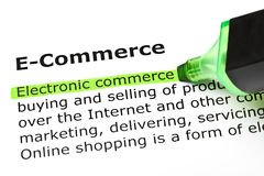 Definition Of E-Commerce. Electronic commerce highlighted in green, under the heading E-Commerce royalty free stock photos