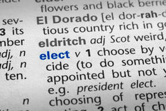 Definition of Elect Stock Image