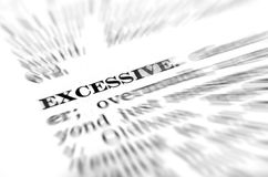 Definition of Excessive from Dictionary Royalty Free Stock Photo