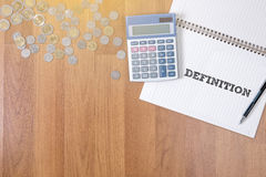 DEFINITION. A finance Money, calculator notes, calculator top view work royalty free stock photography
