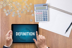 DEFINITION. A finance Money, calculator notes, calculator top view work royalty free stock images