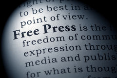 Definition of free press Stock Image