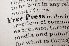 Definition of free press Royalty Free Stock Image