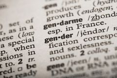 Gender in dictionary. Definition of `Gender` in a Dictionary royalty free stock photo