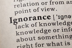 Definition of ignorance. Fake Dictionary, Dictionary definition of the word ignorance. including key descriptive words Royalty Free Stock Image