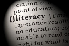 Definition of illiteracy. Fake Dictionary, Dictionary definition of the word illiteracy. including key descriptive words Royalty Free Stock Photography