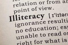 Definition of illiteracy. Fake Dictionary, Dictionary definition of the word illiteracy. including key descriptive words Royalty Free Stock Photos