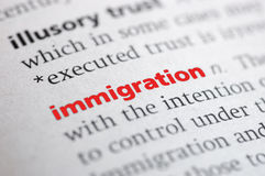 Definition of Immigration Stock Photography