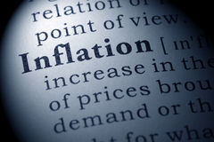 Definition of inflation stock images