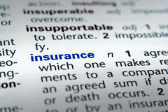 Definition of Insurance. The word Insurance in a dictionary, word in blue with rest of page text in black