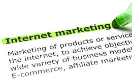 Definition Of Internet Marketing. Internet Marketing highlighted in green with felt tip pen Stock Image