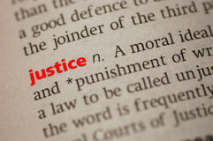 Definition of Justice. Dictionary definition of Justice. Close-up view, with paper textures royalty free stock images