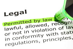 Definition Of Legal. Permitted by law highlighted in green, under the heading Legal royalty free stock photography