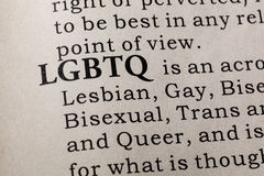 Definition of LGBTQ. Fake Dictionary, Dictionary definition of the word LGBTQ. including key descriptive words stock photography