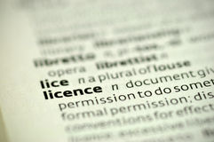 Definition licence Royalty Free Stock Photo