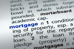 Definition of Mortgage. The word Mortgage in a dictionary, word in blue with rest of page text in black