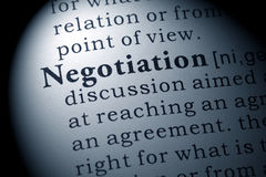 Definition of negotiation Stock Image