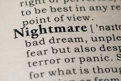 Definition of nightmare Stock Photos