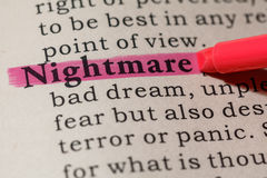 Definition of nightmare Stock Image