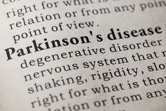 Definition of Parkinson`s disease. Fake Dictionary, Dictionary definition of the word Parkinson`s disease. including key descriptive words Royalty Free Stock Image